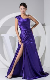 Fabulous Front-Split Ruched Floor-Length Dress With Single Strap