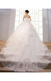 Gorgeous Strapless Beadings Crystal Wedding Dresses 2018 Lace-up Tulle Lace Bridal Gown