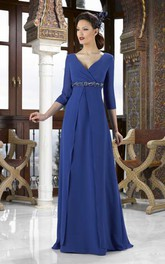Empire 3-4 Sleeve Jeweled V-Neck Chiffon Mother Of The Bride Dress