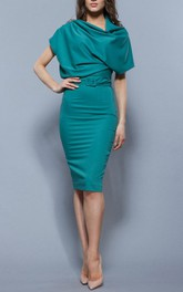Oversize Top Sheath Jersey Knee Length Dress With Belt Turquoise