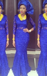 Gorgeous Royal Blue Lace Mermaid Evening Dress Long Sleeve