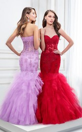 Mermaid Floor-Length Sleeveless Sweetheart Appliqued Tulle Prom Dress