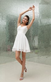 Chiffon Spaghetti-Strap Short Dress With Beading