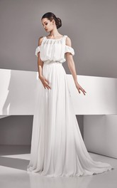 Empire Long Chiffon Dress With Crystal Detailing