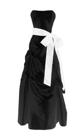 Strapless Layered Ruffle Dress With Satin Bow