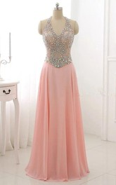 Floor-length Halter Backless Chiffon Dress With Beading