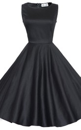 Sassy Sleeveless A-line Dress With Detachable Bow
