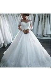 Jewel Sleeveless Court Train Lace Tulle A-Line Ball Gown Wedding Dress