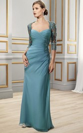 Sweetheart Half-Sleeve Floor-Length Criss-Cross Formal Dress With Appliques