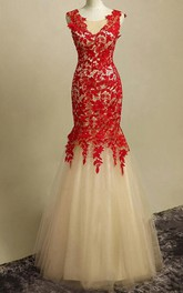 Sumptuous Mermaid Straps Full Length Lacey Prom Gown