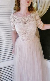 Short Sleeve Lace-Bodice Tulle Dress With Scalloped Bateau Neck and Pleated Skirt