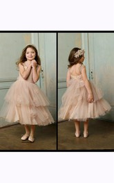 Flower Girl Straps Layered Tulle Ball Gown With Flowers