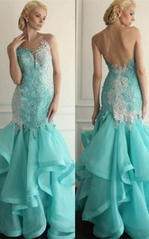 Glamorous Lace Appliques Prom Dresses 2018 Floor Length With Ruffles
