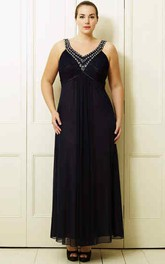 Ankle-Length Sleeveless Ruched V-Neck Chiffon Plus Size Prom Dress With Beading