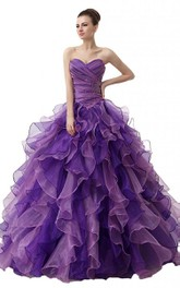 Dreaming Sweetheart Ruched Ball Gown With Cascading Ruffles and Rhinestones