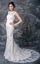 Feminine Lace Overlay Sheath Wedding Dress