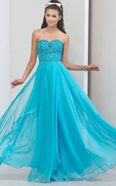 Sweetheart Beading Sequins Zipper-Up Prom Dresss