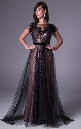 Maxi Bateau Short-Sleeve Appliqued Sequins Prom Dress With Sweep Train And V Back