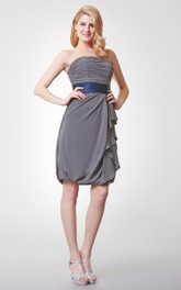Strapless Ruched Short Chiffon Dress With Satin Sash