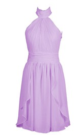 High Neck Pleated Short Dress With Ruched Band