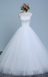 Ball Gown Sweetheart Sleeveless Corset Back Tulle Lace Organza Dress