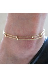 Western Style Fashion Copper Bead Chain Anklet 26Cm