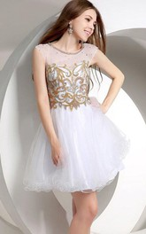 Shiny A-Line Short Length Junior Prom Dress