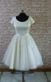 Short Sleeve Tulle and Satin A-Line Dress With Lace Appliques