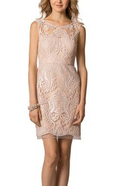 Scoop Neck Lace Short Bridesmaid Dress