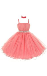 Sleeveless A-line Sequined Organza Dress With Pleats