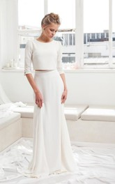 Simple Chiffon Two Piece Bridal Gown With Sweep/Brush Train