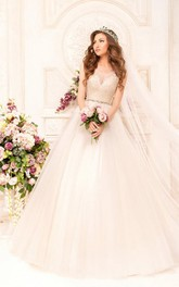 Ball Gown Long Scoop Sleeveless Illusion Tulle Lace Dress With Appliques And Waist Jewellery