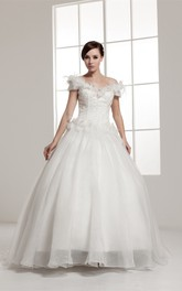 Off-The-Shoulder A-Line Floral Waist and Ball-Gown With Beading