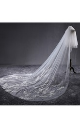 Ethereal New Long Tulle Wedding Veil with Lace and Flower Appliques