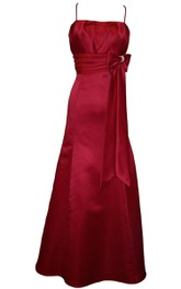 Spaghetti Straps Satin Long Dress With Satin Bow
