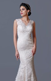 Sleeveless Mermaid Lace Wedding Dress With Illusion Back