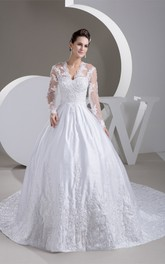 Scalloped-Neck Beaded Long-Sleeve Ball-Gown With Illusion