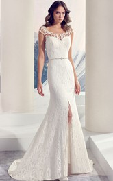 Floor-Length Square Split-Front Jeweled Lace Wedding Dress