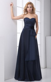 Unique Taffeta a Line Sweetheart Maxi Sleeveless Bridesmaid Dresses