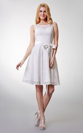 Incredible Bateau Neckline Layered Sleeveless Lace Dress with Waist Bow