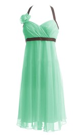 Halter Ruched Empire Gown With Flower and Bow