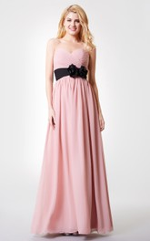 Sweetheart Ruched Floral Backless A-line Long Chiffon Dress