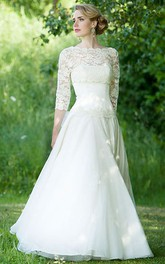 Bateau Floor-Length Lace 3-4-Sleeve Chiffon Wedding Dress