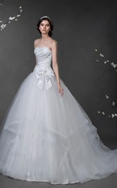 Ball Gown Floor-Length Strapless Sleeveless Corset-Back Tulle Dress With Beading And Draping
