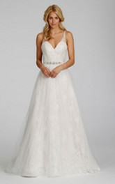Alluring V-Neckline Lace Tulle Dress With Jeweled Belt
