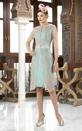 Knee-Length Bateau Neck Appliqued Long Sleeve Satin Mother Of The Bride Dress