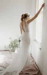 Sleeveless Elegant Sheath Plunging V-neck Lace Deep V-back Wedding Dress With Buttons