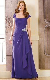 A-Line Floor-Length Cap Chiffon Broach Draping Ruching Zipper Dress