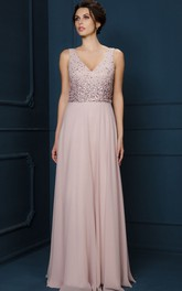 A-Line Long Beaded V-Neck Sleeveless Chiffon Evening Dress