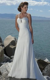 sheath Empire Spaghetti Straps Chiffon Beach Wedding Dress